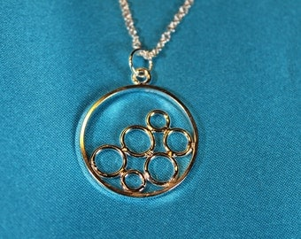 Bubbles Circles Sterling Silver Necklace Pendant