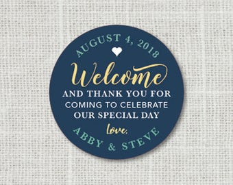 Wedding Thank You Stickers, Welcome Stickers, Custom Thank You Wedding Labels, Personalized Thank You Stickers