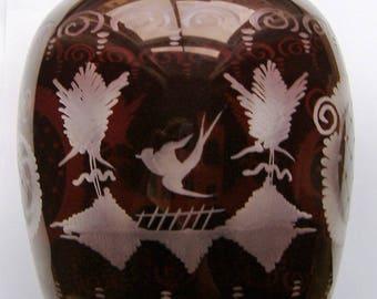 EGERMANN STUNNING RUBY Cut czech glass vase with original certificate