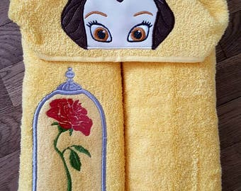 Princess Belle Inspired Hooded Character Towel With Extra Bottled Rose design!