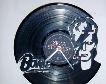 DAVID BOWIE wallclock made of old used vinyl record.