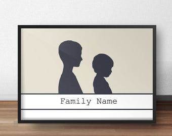 Personalized silhouette 2 characters silhouette poster kids silhouette wall decor art family poster minimalist art geometric decor
