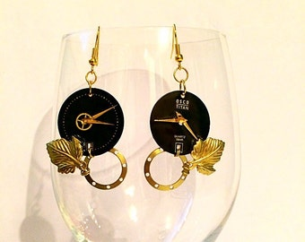 "earrings ""lancetta"" with vintage watch"