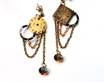 Steampunk earrings Golden dials