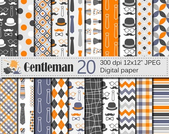 Gentleman Digital Papers, Man Digital Paper Patterns, Fathers Day Scrapbook Papers, Father/Dad Digital Paper with Tie, Bow tie, Mustache