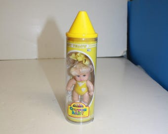 Yellow Crayon Baby Doll ~  3 inch Doll  ~ Yellow Baby Doll ~ Crayon Baby ~  Vintage Doll  ~  Goldberger Doll Mtg ~ 1990s doll