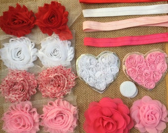 Valentines Day Headband Kit- Heart Headband Kit- 8 DIY Headbands- Baby Shower Headband Kit- Craft Show-