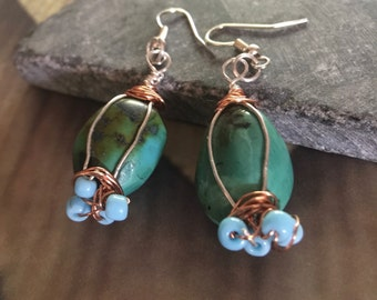 Turquoise stone copper wire wrapped earrings