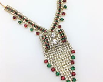 Incredible Holiday Lariat Necklace with Red, Green & White Rhinestones