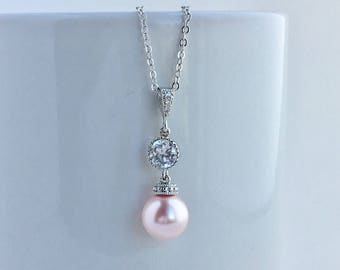 Pink Bridal Pearl Necklace Blush Pink Crystal Pearl Necklace Light Pink Swarovski Pearl Necklace Blush Pink Bridesmaid Crystal Pearl Jewelry