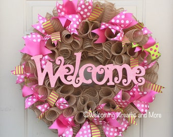 Welcome Wreath, Spring Burlap Mesh Wreath, Spring Welcome Wreath, Summer Welcome Wreath, Summer Mesh Wreath