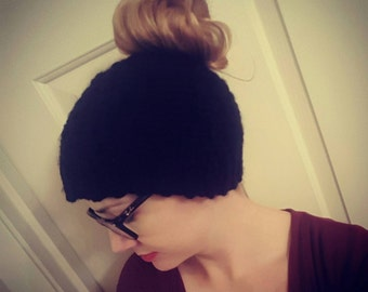 Crochet Cross Stitch Messy Bun Beanie *Please specify color in comments when purchasing. *