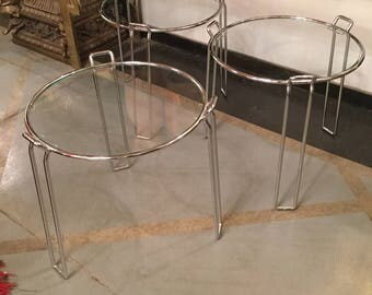 Modern Chrome and Glass Nesting Tables by Saporiti, Italy