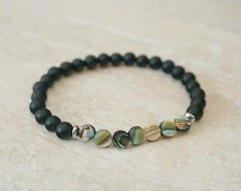ready to ship, sale, abalone jewelry, onyx bracelet