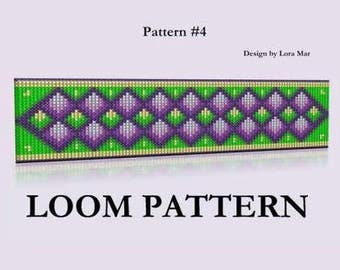 Loom Bead Pattern #4 - Beaded Loom Pattern Bracelet - Seed Bead loom Pattern - Green Purple Bead Bracelet