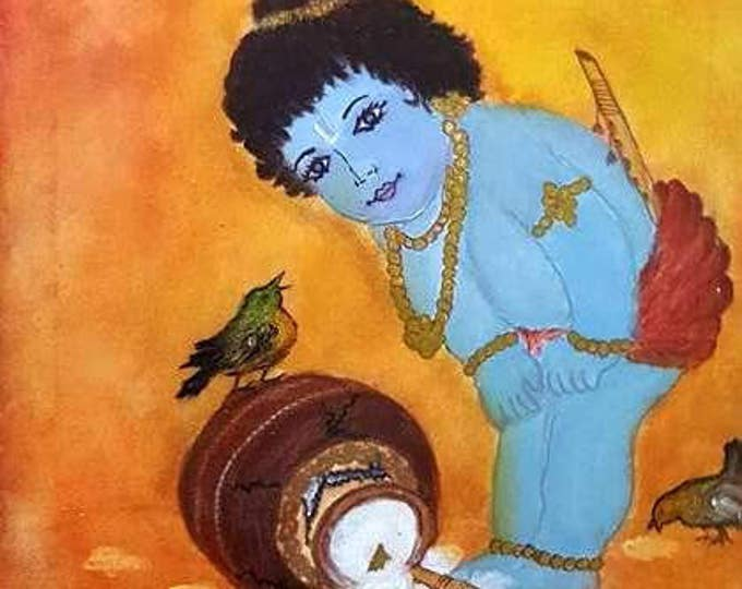 Baby KRISHNA God of Good Fortune,Original painting, hand made, Reiki charged, Spiritual art, Hindu God,Deity art, unique gift, wall decor.