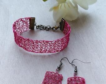 Hand crocheted bracelet and earrings. Copper wire braceled and earrings. Pink bracelet and earrings.