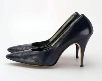 1960s Dark Navy Blue Stilettos with Brogued Pattern by Nanette