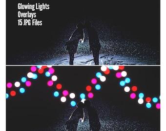 Glowing Lights - Fairy Lights Overlay - Lights Overlays - Garden Lights Overlay - Light Overlay - Photo Overlay - Glowing Lights Overlay