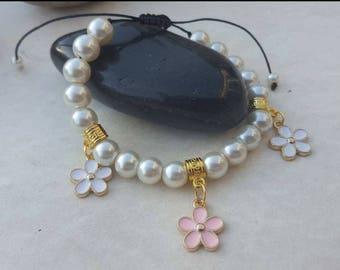 Mala bracelet Bracelet Bead flower bracelet, flower jewelry flower charm Bead Bracelet bracelet macrame