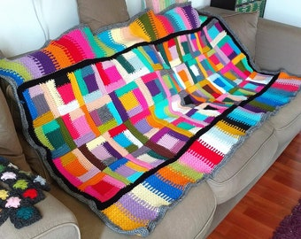 Crochet weighted blanket decorative sofa cover for livingroom bedcover bedspread coverlet Kandinsky Klimt for single bed READY TO SHIP