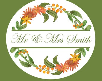 Orange Gerbera and lilies Wedding stickers customised personalised for your celebration