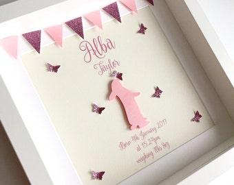 baby girl gift, bunny frame, pink bunny, new baby girl, christening gift, nursery decor, girls room decor, girls nursery decor,