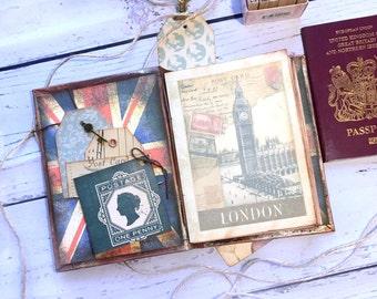 London Travel journal, Vintage England, Great Britain handmade journal