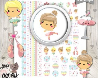 Ballerina Stickers, Planner Stickers, Printable Planner Stickers, Kawaii Stickers, Ballet Stickers, Planner Accessories, Digital Stickers