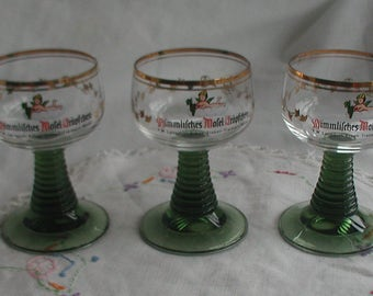 Vintage Mosel Glasses Set of Three German Mosel Glasses