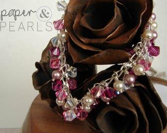 Cluster Pearl Swarovski Crystal Bracelet in Pink