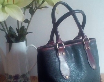 Vintage Mulberry Scotchgrain Leather Handbag - Top Handle Style in Branston & Brandy