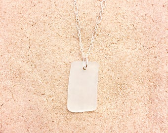 White Sea Glass Rectangle Sterling Silver Necklace