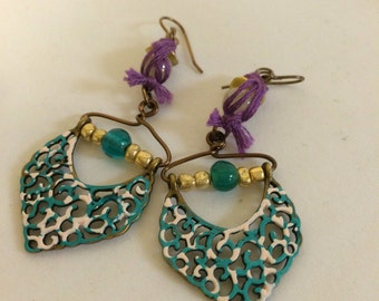 Teal Brass Dangle Earrings