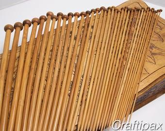 Carbonized Bamboo Knitting Needles - Set of 18 pairs size 2 - 10 mm  - lovely to handle - Uk Seller