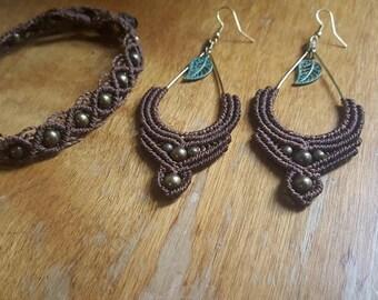 rustic leaf teardrop earrings/bracelet set