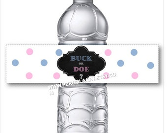 Buck or Doe Gender Reveal Water Bottle Labels - Gender Reveal Decorations - Gender Reveal Ideas - Gender Reveal Party -  Instant DIY