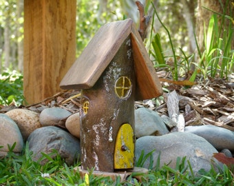 Wooden Fairy house with Opening Yellow Door and Three Resin Windows, Driftwood Fairy House, OOAK