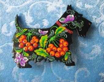 Dog brooch, wooden jewelry, handmade  Folklore style, Ukrainian Folk Art, Petrykivka style gift for pet lovers