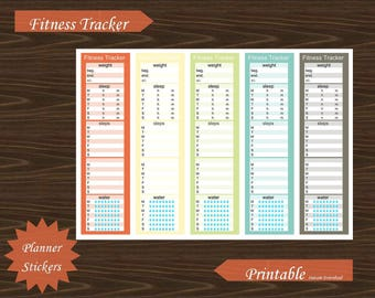 Sidebar Fitness Exercise Water Steps Sleep Weight Tracker Erin Condren Planner Printable Instant Download #P018-4