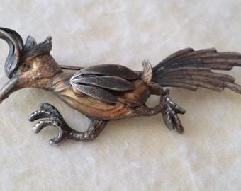 STUNNING Vintage Silver Tone Roadrunner Bird Pin Brooch