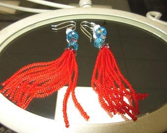 Tassel Earrings - Red, White & Blue - Hand Beaded