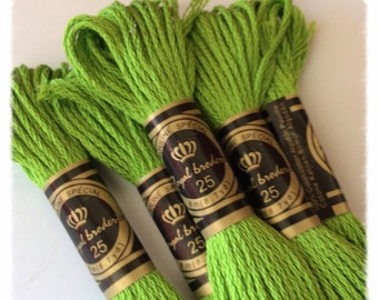 Lot of 10 skeins Apple green Mercerized cotton