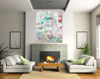 "Large Acrylic painting original  abstract wall art canvas art modern art  36""x48"""