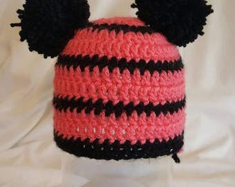 Pink and Black Hat with Poofs