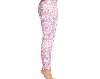 Pink Yoga Pants - Leggings Yoga Pink, Patterned Tights, Yoga Print Tights, Womens Mandala Pants, Art Leggings, Fashion Leggings