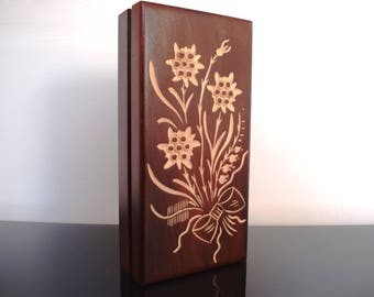 Handmade Wooden Jewellery Box/ Keepsake Box/ Box with flower/ Trinket Box/ Treasure Box