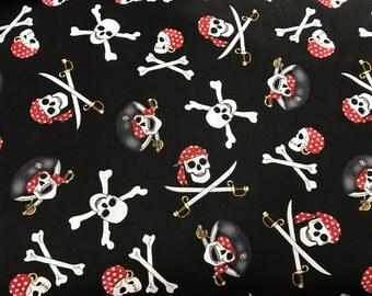 Black pirate skulls & swords fabric, skull fabric, pirate fabric, pirates