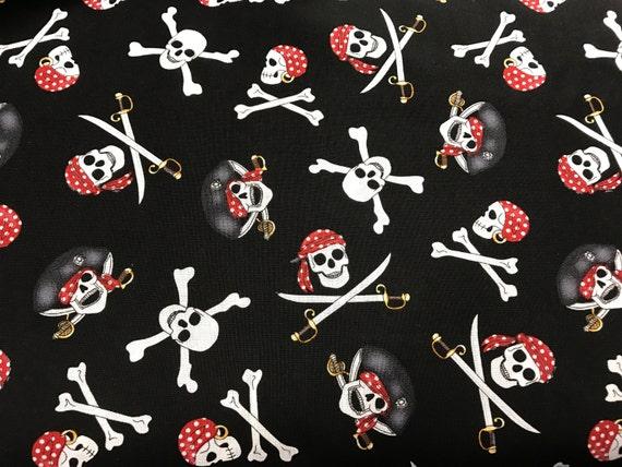 Black pirate skulls & swords fabric skull fabric pirate