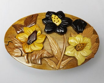 HC012 High Quality Handmade Art Intarsia Big Wooden Puzzle Box - Hibiscus